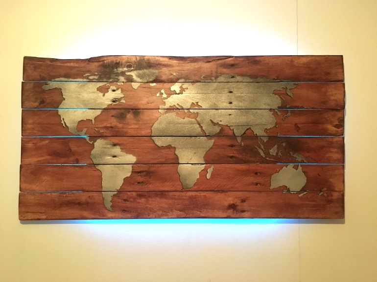 World map backlit wall art (sold) – hartwood upcycling