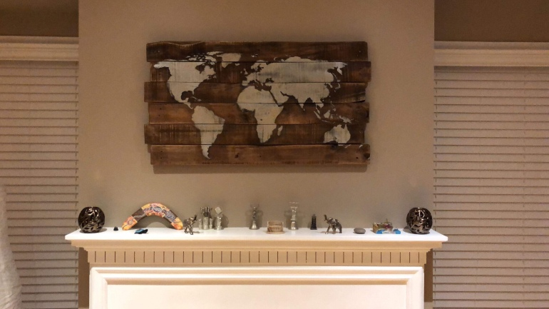 World map wood wall art (custom order) – hartwood upcycling